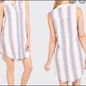 Cloth & Stone multicolor striped fray tunic size M